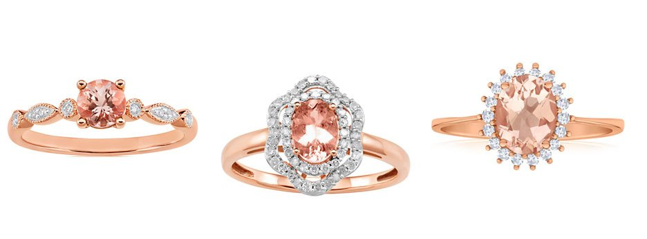 The Pantone colour of the year 2019: living coral morganite rings